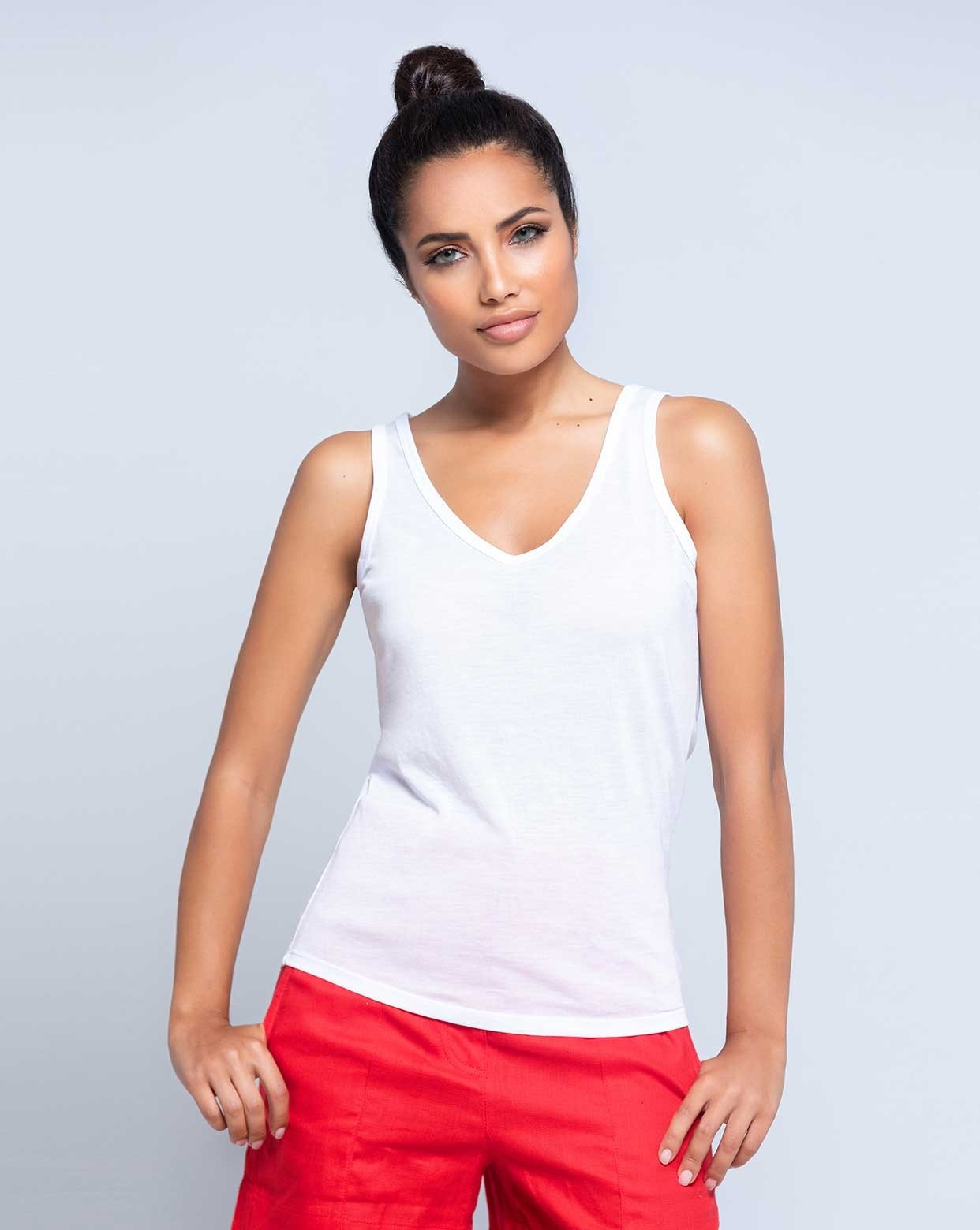 JHK SUBLI V-NECK TOP